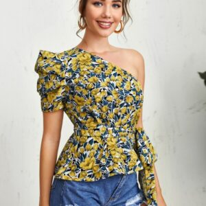 One Shoulder Puff Sleeve Belted Floral Top