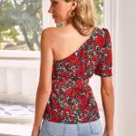 One Shoulder Belted Floral Peplum Top