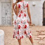 Floral Ruffle Hem Belted Dress