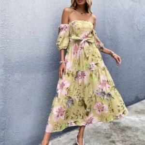 Off Shoulder Floral Print Shirred Belted Dress