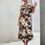 Off-shoulder Floral Print Ruffle Hem Dress