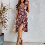 Wrap Belted Floral Dress