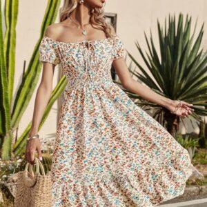 Off Shoulder Tie Front Shirred Panel Ditsy Floral Dress
