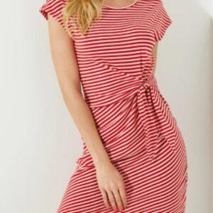 Red Tie-Up Striped Round Neck Short Dress – L