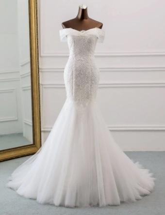 Boat Neck Mermaid Wedding Dress