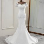 Flower applique lace Mermaid – White Dress