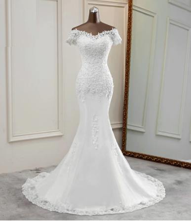 Flower applique lace Mermaid - White Dress