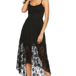 Black Lace Spaghetti Strap Sleeveless High-Low Hem Dress – M