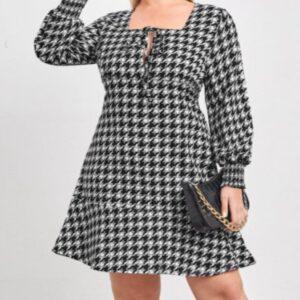 Houndstooth Square Neck A-line Dress – 4XL