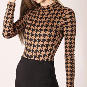 Printed Turtleneck Bodysuit – Tan – L