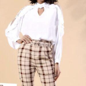 Ruffle Long Sleeve V-Neck Blouse  – WHITE – L