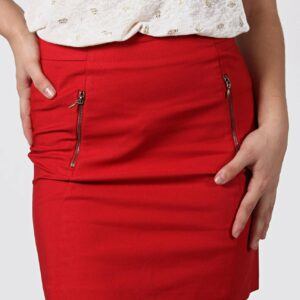 Zip Detail Mini Skirt – Red / 32