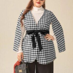 CURVY Houndstooth Cloak Sleeve Self Tie Coat – 3XL