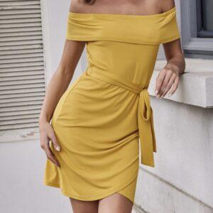 Off-shoulder Wrap Hem Belted Dress – S