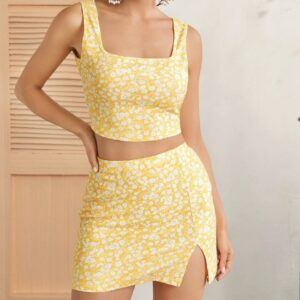 Ditsy Floral Crop Tank Top & Split Hem Skirt Set – M