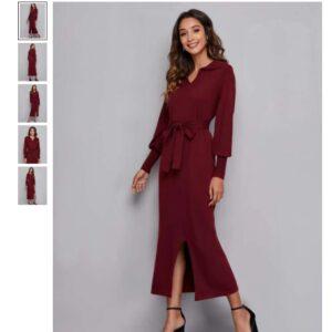 Split Hem Belted Sweater Dress