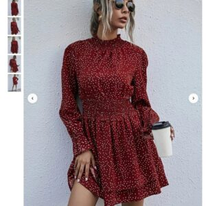 Polka Dot Shirred Waist Layered Hem Dress