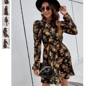 Mock-neck Gigot Sleeve Floral Dress