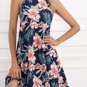 Tie Back Floral Halter Dress