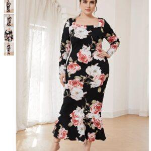 CURVY Floral Split Hem Bodycon Dress