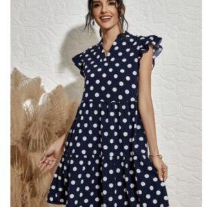 Polka Dot Notched Neck Ruffle Trim Babydoll Dress