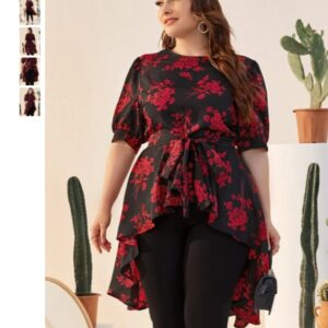 CURVY Puff Sleeve Belted High Low Floral Longline Blouse