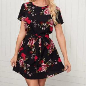 Floral Print Belted Dress – XL
