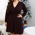 CURVY Ribbed Surplice Front Dress – 4 XL