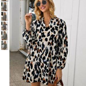 Notched Collar Leopard Print Dress