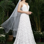 Low Back Lace Overlay Slip Dress With Veil