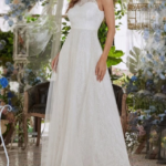 Zipper Back Lace Overlay Dress