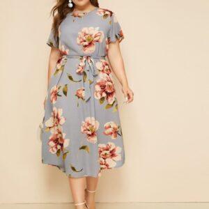 Plus Large Floral Print Belted Dress