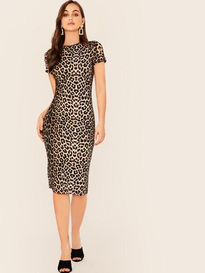 Leopard print pencil dress without belt