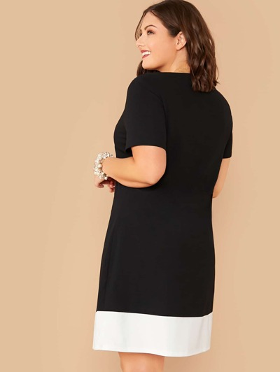 SHEIN Plus Contrast Hem Flowy Dress