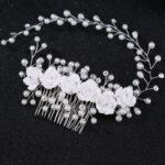 Flower & Pearl Design Hair Comb
