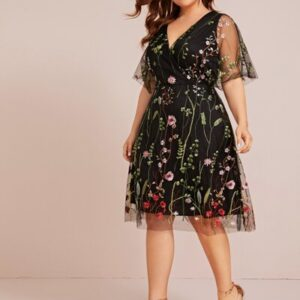 Plus Floral Embroidered Mesh A-line Dress