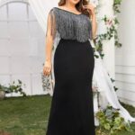 CURVE/PLUS Fringe Maxi Fitted Dress