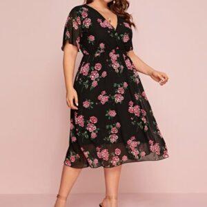CURVE/PLUS Surplice Front Floral Print Overlay Dress