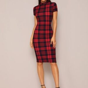 Mock-Neck Plaid Form Fitted Dress