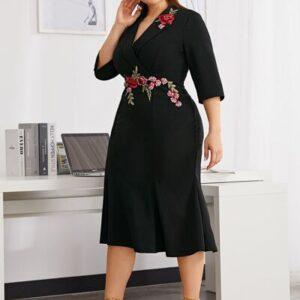 Shawl Collar Embroidered Applique Fishtail Hem Dress