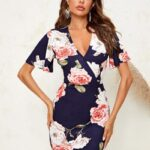 Surplice Neck Bell Sleeve Floral Dress