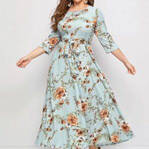 Floral Print Self Belted Dress