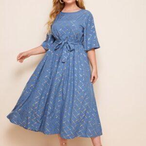 Plus Metallic Grid Print Belted Midi Dress