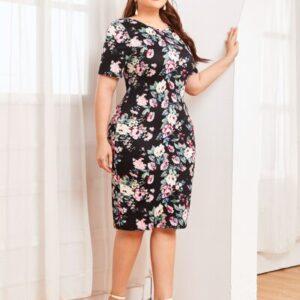 Split Back Floral Print Dress