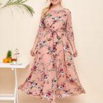 Raglan Sleeve Allover Floral Print Belted Dress