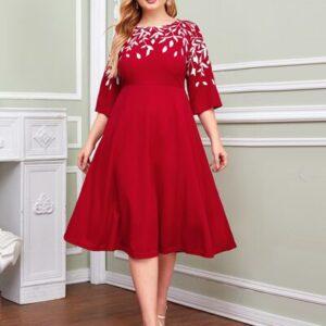 Leaf Print Fit & Flare Dress