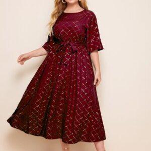 Plus Plaid Self Tie A-line Dress