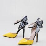 Point Toe Butterfly Decor Stiletto Pumps
