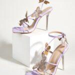 Butterfly Applique Stiletto Heeled Sandals