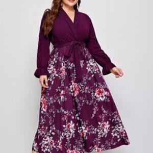 CURVE/PLUS Floral Print Surplice Front Belted Dress
